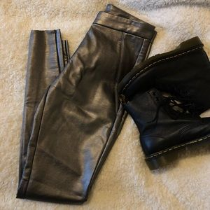Chelsea & Theodore | Silver faux leather pants
